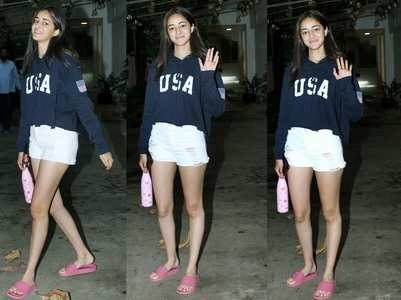 Ananya gets snapped outside a dubbing studio