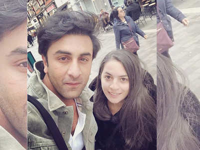 Ranbir clicks a selfie with a fan in London