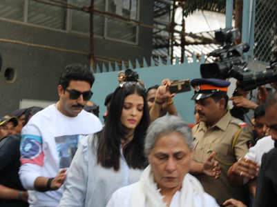 Pics: Abhishek, Ash and Jaya step out to vote