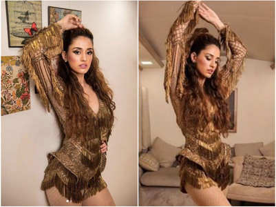 Disha looks smouldering hot in golden outfit