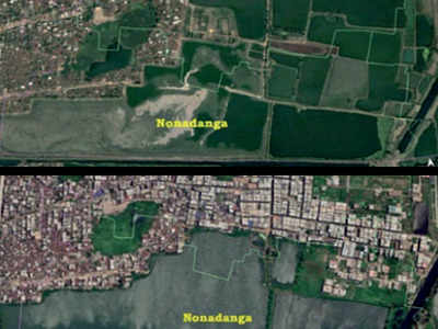 Image result for Satellite maps show massive loss of East Kolkata Wetlands""