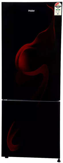 Haier 320 L 3 Star Frost-Free Double Door Refrigerator (HRB-3404PSG-E, Spiral Glass Black)