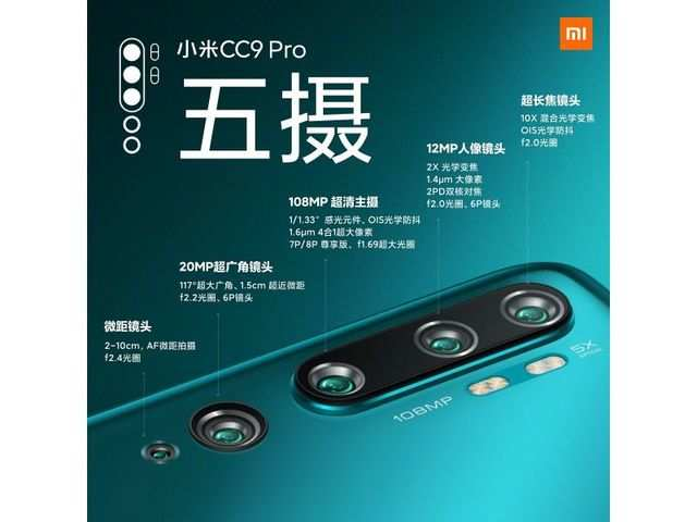 Xiaomi Mi CC9 Pro with 5 cameras and 108MP sensor launched