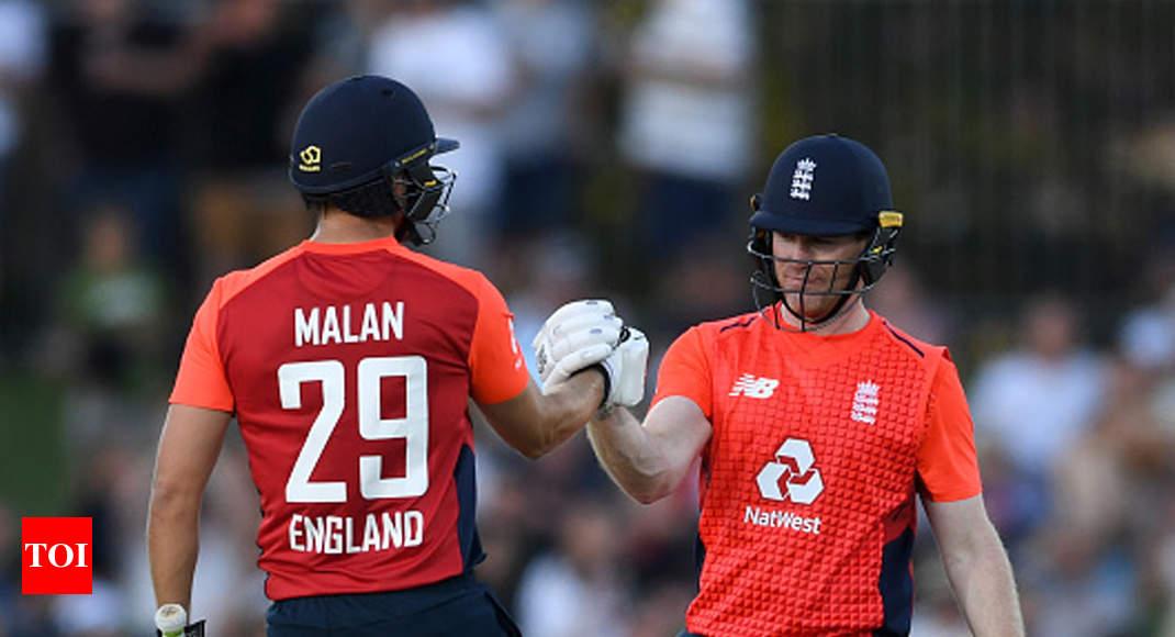 News / Sports News / Cricket News / Dawid Malan, Eoin Morgan lead England's record-breaking spree in Napier T20I against New Zealand