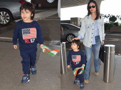 Taimur waves the Indian flag at the paparazzi