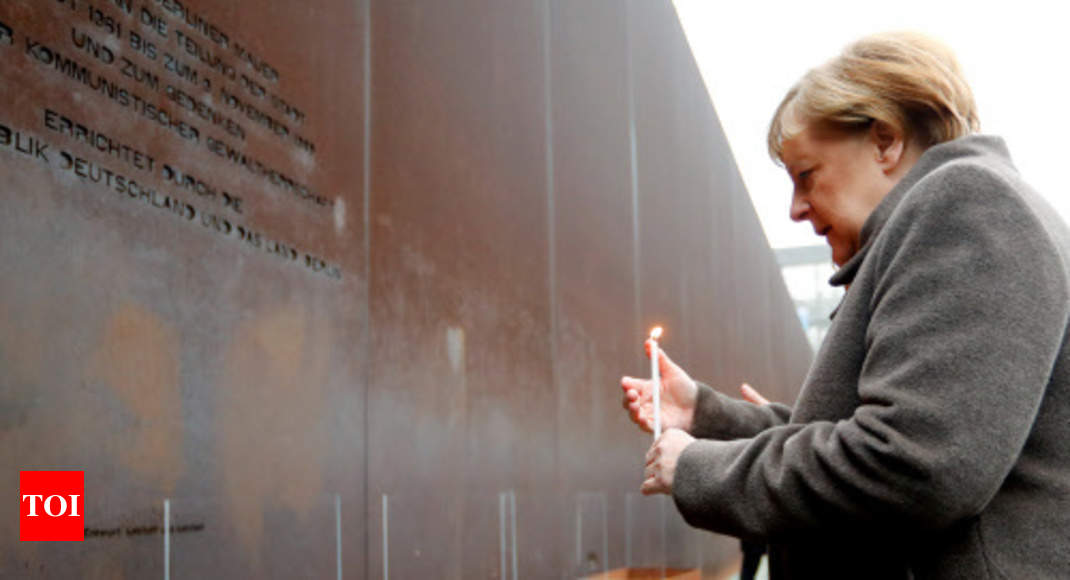 On Berlin Wall anniversary, Merkel urges Europe to defend freedom thumbnail