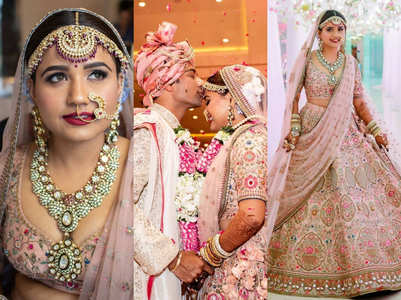 This bride's blush pink Sabyasachi lehenga is so dreamy!