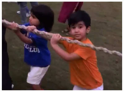 Watch: Taimur, Laksshya, Isana play tug of war