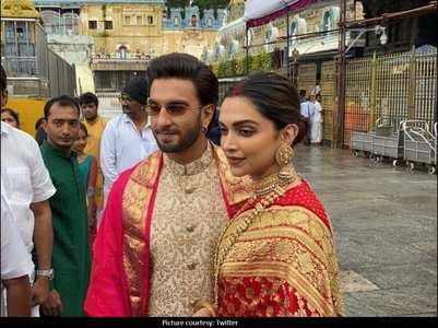 DeepVeer dazzle in red and gold in these pics