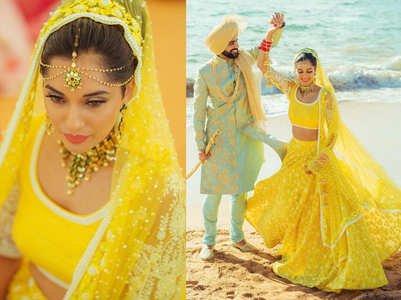 This bride wore a YELLOW lehenga for her beach wedding