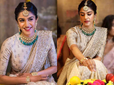 This bride ditched the red lehenga for an elegant beige sari and blouse on her engagement