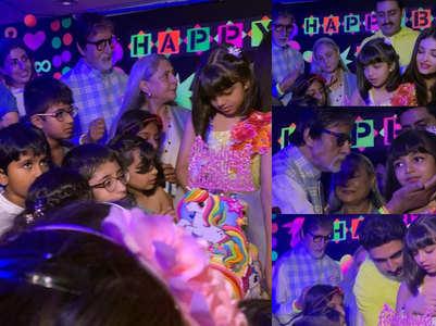 Pics: Ash-Abhishek join Aaradhya cut her cake