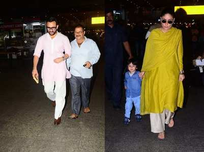 Saif-Bebo & Taimur get snapped at the airport