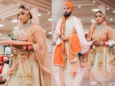 We love this bride's orange-gold lehenga