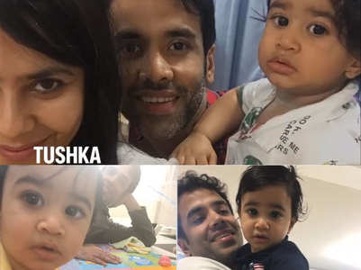 Priceless pics of Tusshar with son Laksshya