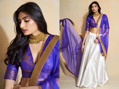 Athiya Shetty's blue and white lehenga is perfect for a South Indian bride