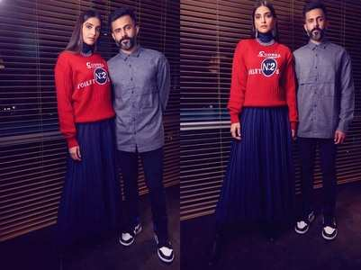 Pics: Sonam-Anand make for a cute couple!
