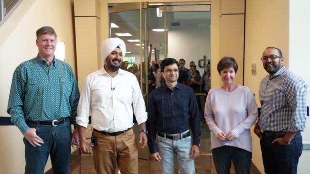 DRUVA LEADERSHIP: (from left) Mike Gustafson, executive chairman, Jaspreet Singh, co-founder & CEO, Milind Borate, co-founder & CTO, Bridget Warwick, chief of staff, and Mahesh Patel, CFO