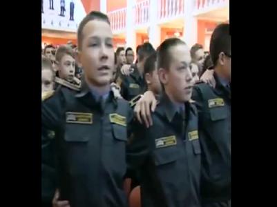 Russian cadets sing patriotic song 'Aye Watan'