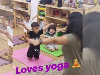 Check out this cute pic of Taimur doing yoga