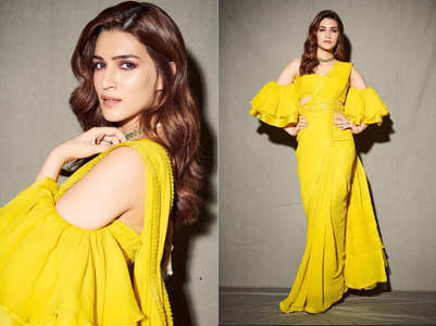 Kriti Sanon's yellow sari has a butterfly effect