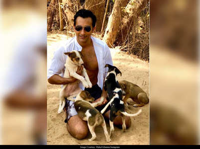 Rahul poses in an unbuttoned shirt with pets