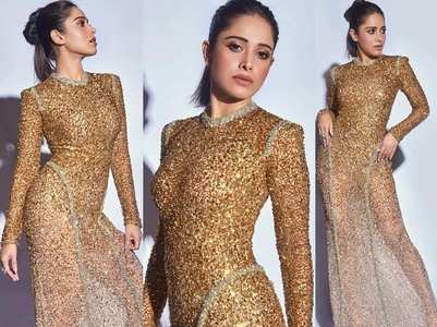 Don't miss these pics of Nushrat in golden gown