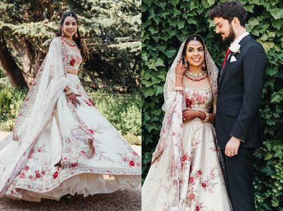 This Indian doctor wore a white Sabyasachi lehenga for her UK wedding