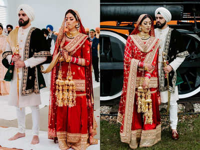 We loved this RED sharara worn by this BEAUTIFUL Sikh bride