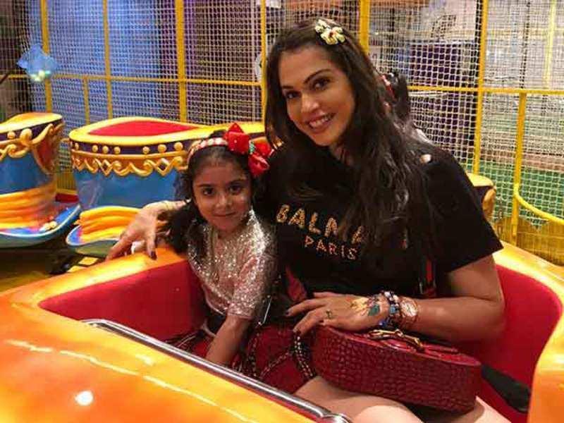 Isha Koppikar with daughter Rianna at the indoor playpark at a mall in Kurla