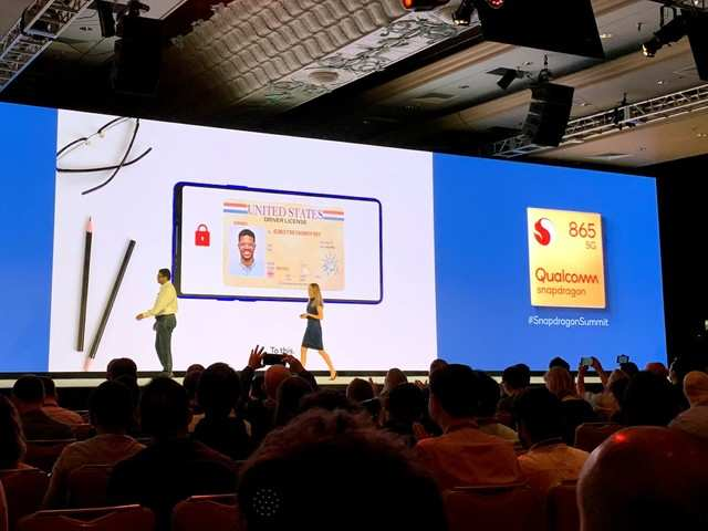 Qualcomm executive showcasing 'Android Identity Credential API' feature on stage. The feature is confirmed to arrive in Android R.