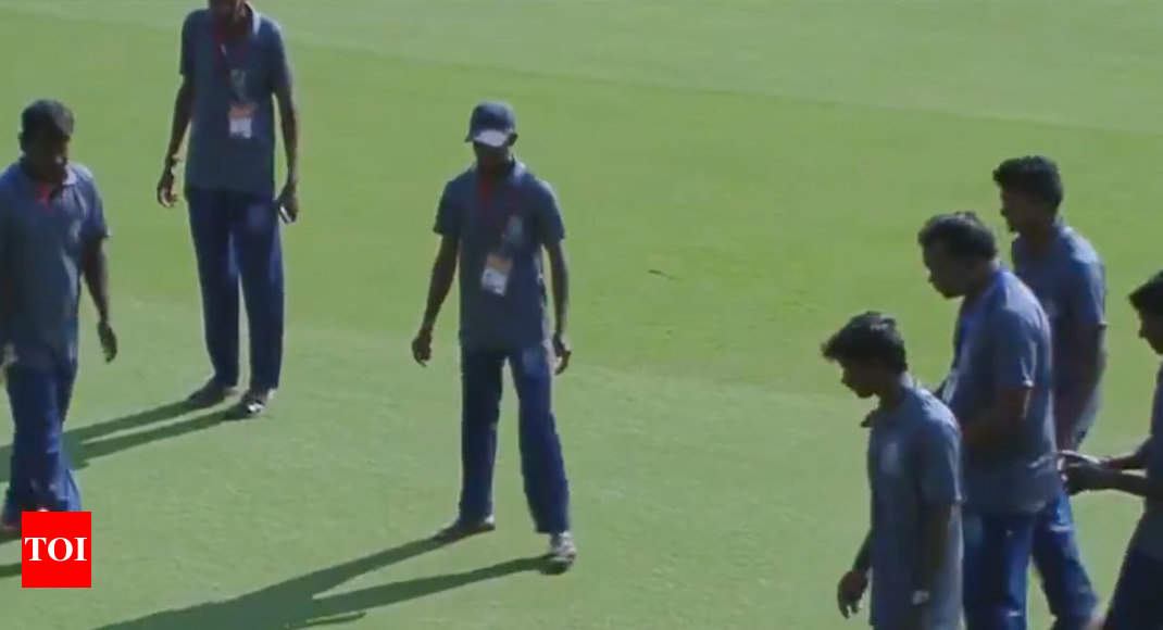 WATCH: Snake enters ground, delays start of Andhra vs Vidarbha Ranji Trophy match