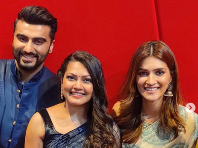 Priyanka Barve's starry moment with Arjun Kapoor and Kriti Sanon