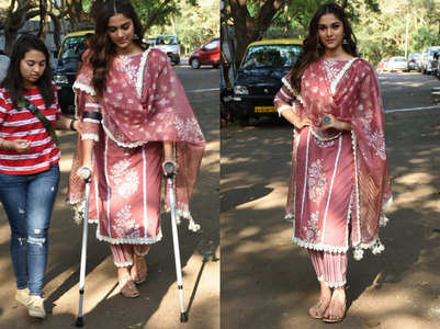 Injured Saiee spotted promoting 'Dabangg 3'