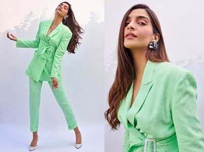 Photos: Sonam stuns in a mint green pantsuit!