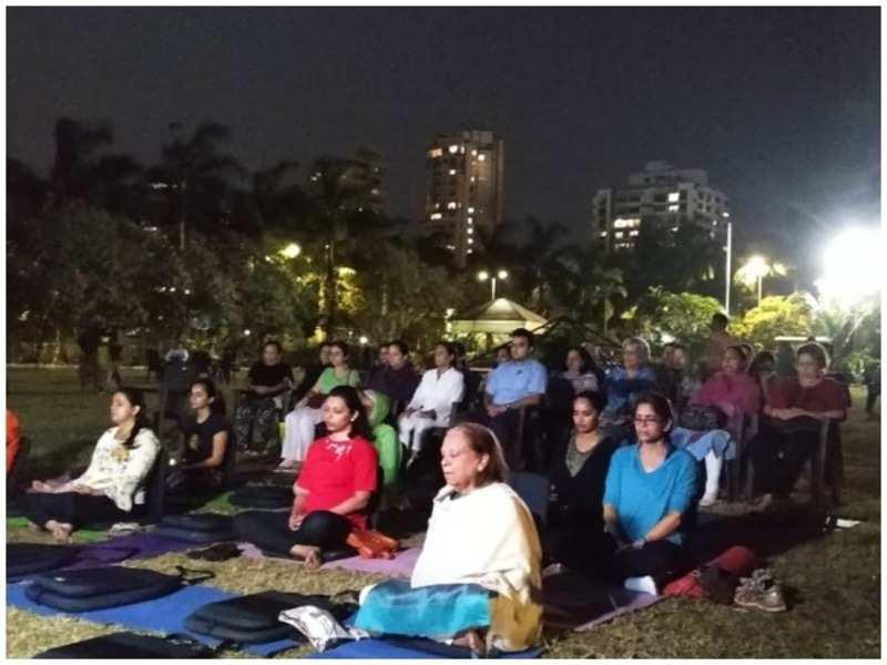 Participants at a moon meditation activity