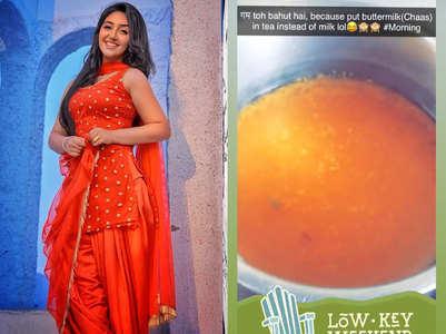 Ashnoor Kaur pours buttermilk in tea