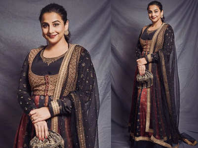 Vidya Balan's black and red anarkali is perfect for a Roka ceremony
