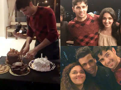 Watch: Sid rings in b'day with Kiara & others