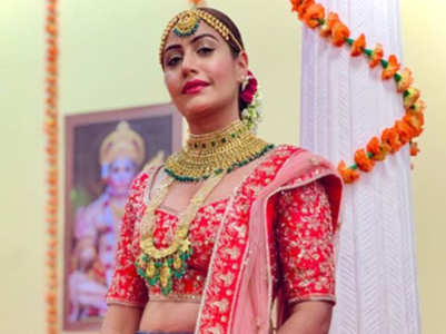 Surbhi wears jeans with bridal choli