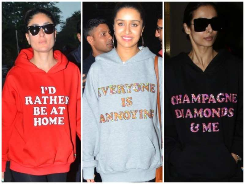 Bollywood divas sport holiday hoodies