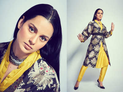 Kangana Ranuat silk jacket + kurta reminds us of a kimono