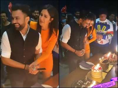 Kat helps Ali Abbas Zafar cut his B'day cake