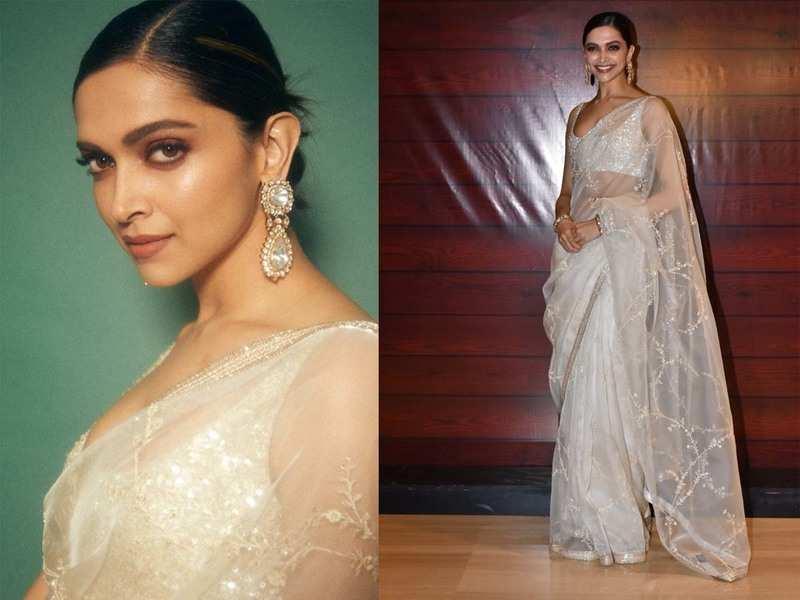 Photos: Deepika Padukone slays in a pearl white saree as she ...