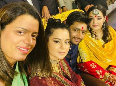 Pics: Kangana at her cousin's engagement