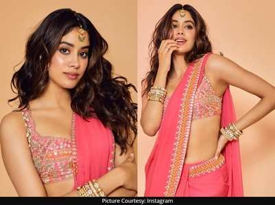 Janhvi looks no less than a diva in pink saree