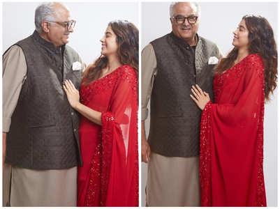 Janhvi poses for happy photos with papa Boney