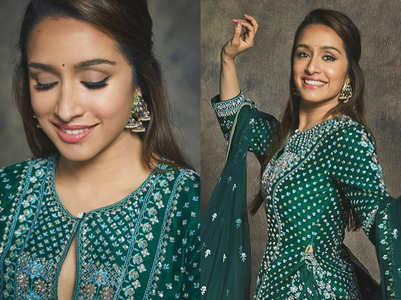 Shraddha Kapoor's long choli and lehenga is perfect for a traditional Mehendi function