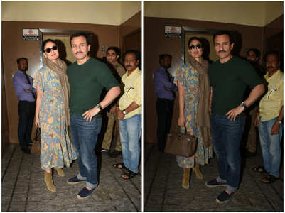 Saif & Bebo step out for a movie date