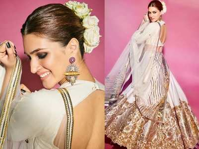 Kriti is a sight to behold in a white lehenga